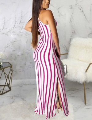 Fetching Rose Red Sleeveless Hollow Out Maxi Dress Split Weekend Fashion
