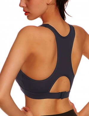 Beautifully Designed Black Hook Hollow I-Shaped Scoop Neck Sports Bra