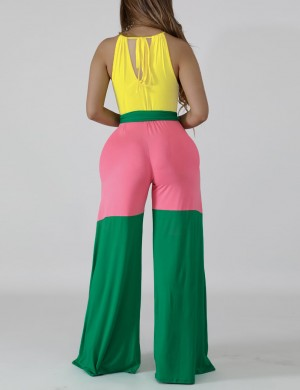 Eye-Appealing Green Wide-Leg Halter Color Blocking Maxi Jumpsuits Form Fit