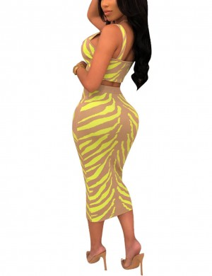 Bewildering Yellow Wide Strap Zip Print Midi Skirt Set For Walking