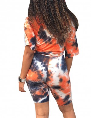 Tailored Orange Knot High Rise Print Short Sleeve Sweat Suit Wholesale