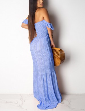 Distinctive Blue Stripe Open Back Smocking Off Shoulder Girls Jumpsuit