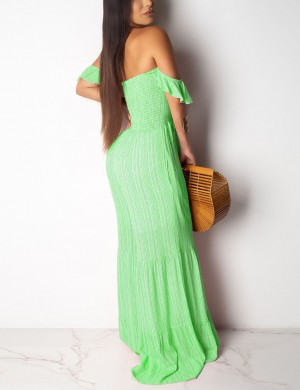 Romance Green Ruched Off Shoulder Backless Smocking Jumpsuit Outdoor