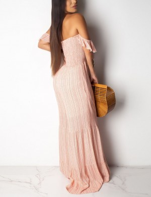 Excellent Pink Wide Leg Smocking Ruched Backless Girls Jumpsuit Print