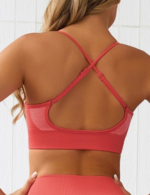 Watermelon Red Slender Straps Sports Color Block Seamless Bra For Strolling