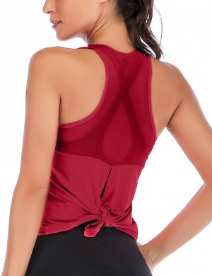 Natural Wine Red Racerback Open Back Sports Top Curve Hem Sport Series