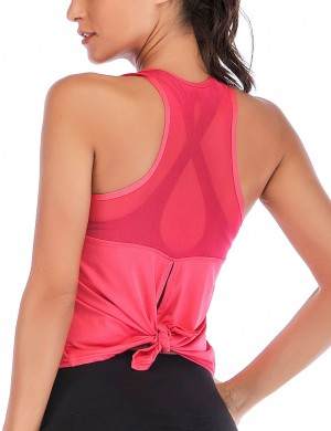 Flattering Watermelon Red Hollow Sleeveless Sweat Top Scoop Neck Super Sexy
