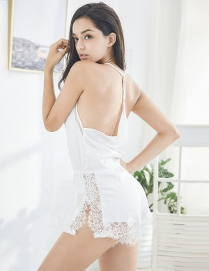 Admiring White Lace Open Back Silk Teddy Nightwear Side Slit Women