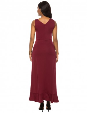 Trendy Wine Red Ruffles Trim Sleeveless V Neck Tank Maxi Dress At Great Prices‎
