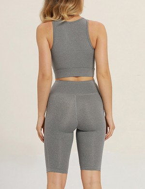 Grey Tank Top Scoop Cut Out Tight Shorts Yoga Suit Sensual Silhouette