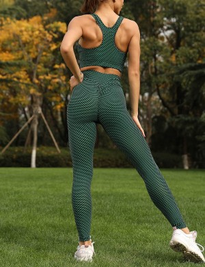 Simplicity Green Plain Booty Lifting Sports Set Ankle Length For Ladies