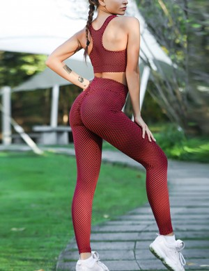 Picturesque Red Tight High Rise Racerback Yoga Suit Butt Lifter Soft