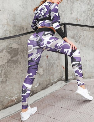 Ultra Cheap Purple Print Hooded Butt Lifting Yoga Suit Ankle Length Online