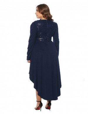 Dark Blue Sequined Asymmetrical Hem Plus Size Dress Online