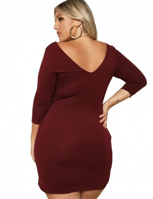 Wine Red Shirred 3/4 Sleeves Plus Size Hip Dress Weekend Fashion