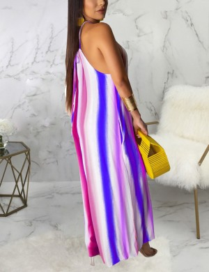 Beautifully Designed Stripe Print Cami Wide-Leg Sleeveless Jumpsuit