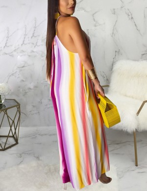 Intrigued Halter Neck Stripe Paint Wide-Leg Jumpsuit At Great Prices‎
