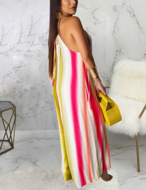 Stylish Wide-Leg Sleeveless Jumpsuit Stripe Paint Newest Fashion