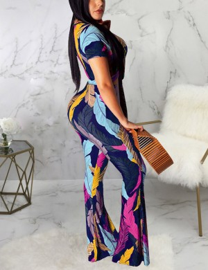 Luxirious Dark Blue Two Piece Crop Long Palazzo Pants Leaves Print