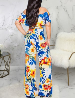 Fascinating Yellow Off Shoulder Ruffles Leaves Print Jumpsuit