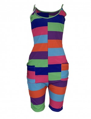 Green Multicolor Stripe U-Neck Sleeveless Jumpsuit Visual Effect
