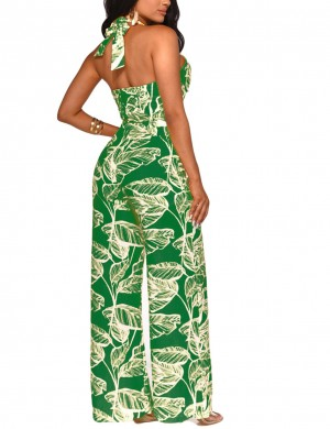 Demure Green Wide Straps Cut Out Leaf Pattern Jumpsuit Ultra Cheap