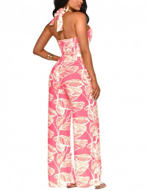 Noble Pink Plant Print Self-Tie Wide Legs Jumpsuit For Streetshots