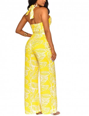 Diva Yellow Front Cross Cut Out High Waist Jumpsuit Dress For Women