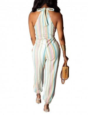 Soft White Sleeveless Stripe Print Deep V-neck Jumpsuit Fashion Comfort