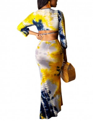 Abstract Yellow Three-quarter Sleeves Cut Out Skirt Suit Super Sexy