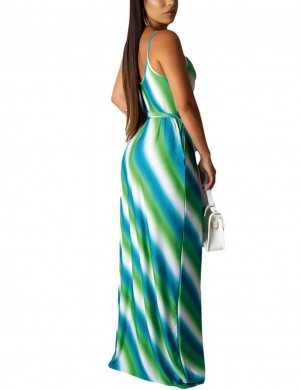 Leisure Green Open Back U-Neck Sling Straps Maxi Dress Shop Online
