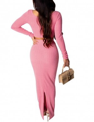 Svelte Style Pink Long Sleeves Bottom Split Skirt Suit Latest Fashion