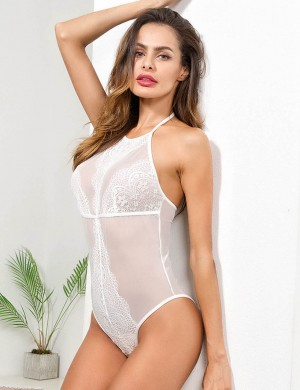 Inviting White Teddy Halter Neck Patchwork Sheer Mesh Dreamgirl