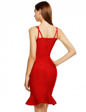 Kinetic Red Bandage Dress Double Straps Flounce Hem Ultimate Comfort
