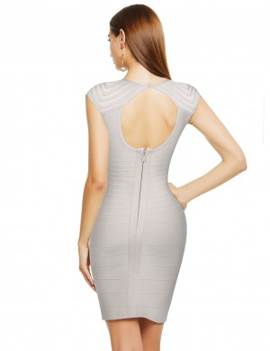 Relaxed Beige Tight Bandage Dress Hollow-Out Cap Sleeve Ultra Cheap