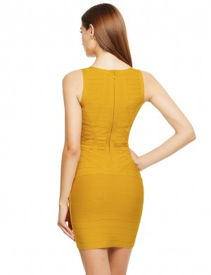 Excellent Yellow Bnadage Dress Wide Straps V-Neck Zipper Exotic Girls