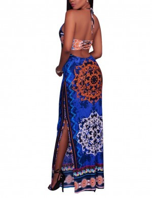 Particularly Dark Blue Sling African Print Backless Bodycon Dress Fashion
