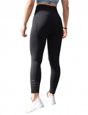 Eye Catching Black Yoga Leggings Stripe Keyhole High Waist Elegance