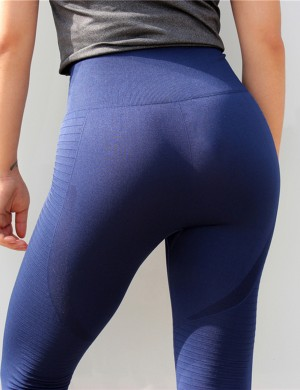 Blue High Rise Wide Waist 7/8 Length Yoga Leggings For Lounging