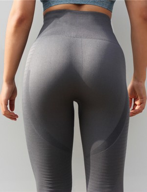 Gray Perforated High Rise Cropped Yoga Leggings Delightful Garment