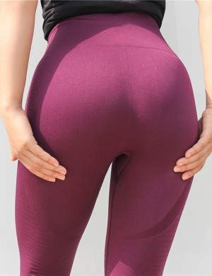 Boldly Wine Red Crop Yoga Leggings Perforated High Waist Loose