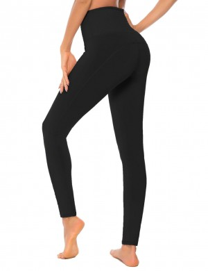 Black Mid-Rise Full Length Tight Yoga Leggings Women's Clothes