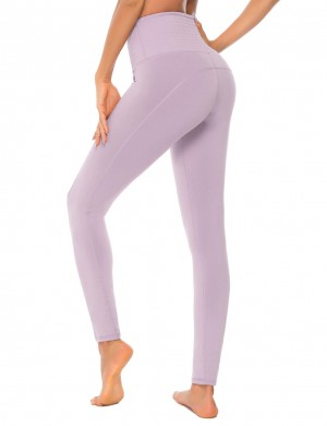 Light Purple Trace Design Pleated Detail Yoga Leggings For Work