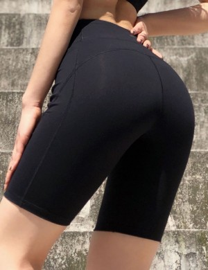 Happy Girl Black Side Pockets Bike Gym Shorts Pressing Detail For Woman