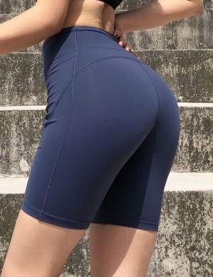 Captivating Blue Bike Gym Shorts Wide Wiastband Side Pockets Leisure