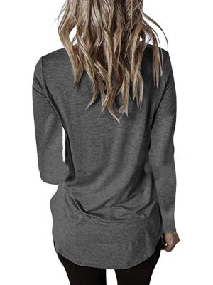 Detachable Dark Gray Full Sleeve Shirt Solid Color Straps Women