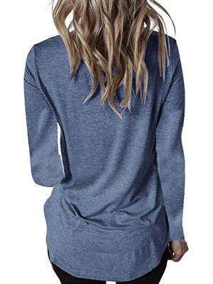 Stylish Gray Blue Knit Shirt Solid Color Full Sleeve Shop Online