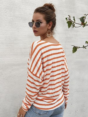 Ultimate Orange Long Sleeve Button Front Shirt Tops For Women