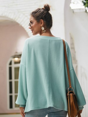 Simplicity Green V-Neck Baggy Shirt Long Sleeve Supper Fashion