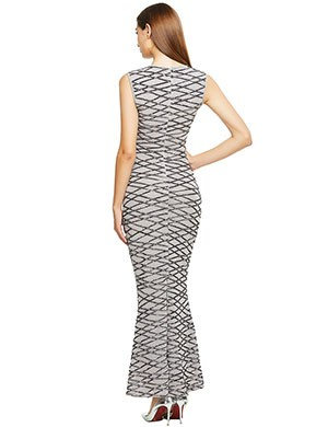 Grey Spangle Zip At Back Embroidered Bandage Dress Comfort Fit